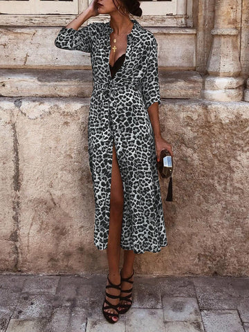 Chiczz Shirt Collar Women Fall Dresses Shift Daily Leopard Print Dresses