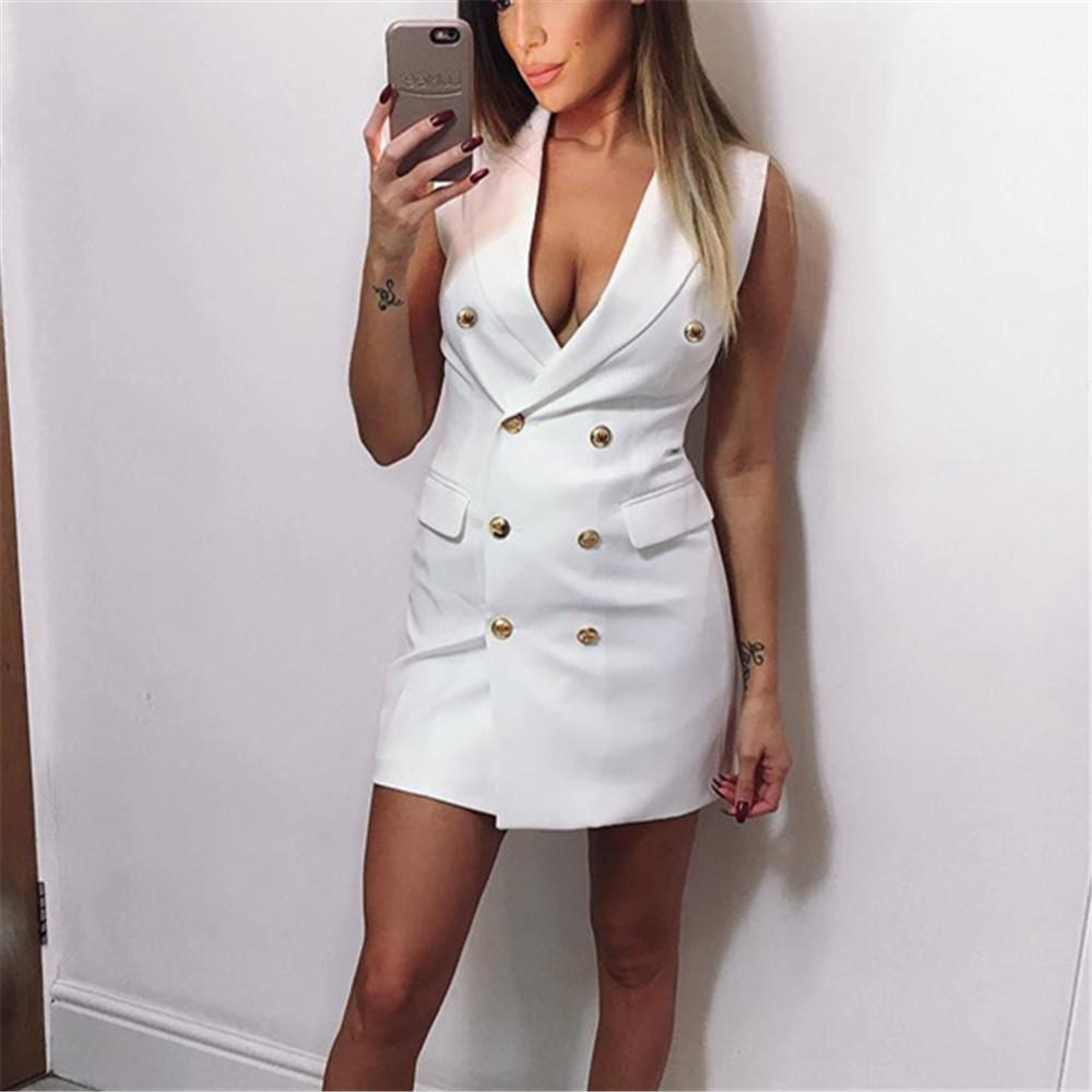 Chiczz Sexy Lapel Double-Breasted Solid Color Little Suit