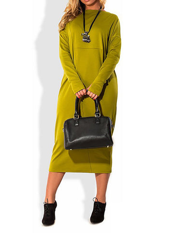 Chiczz Polyester Paneled Crew Neck Casual Long Sleeve Dress
