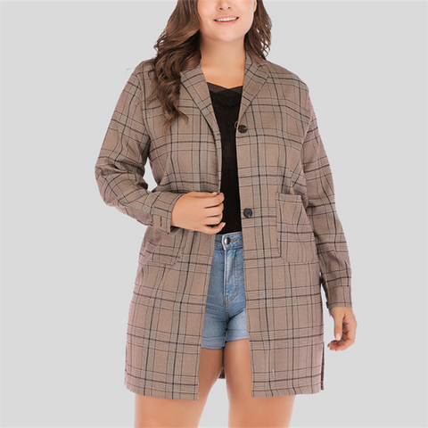 Chiczz Plus-Size Check Long Sleeve Lapel Overcoat