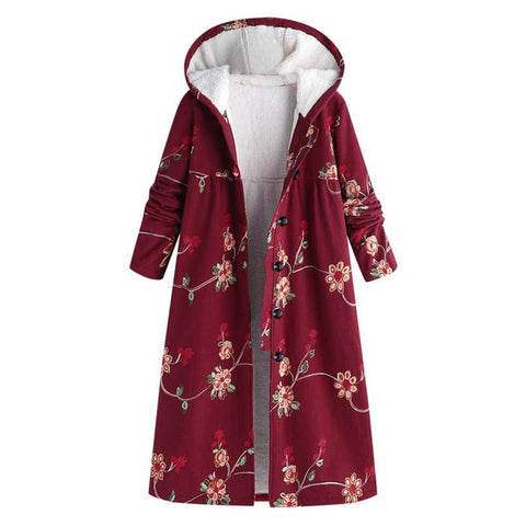 Chiczz Fashionable Loose Printing Long-Sleeved Hooded Overcoat