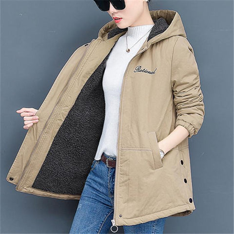 Chiczz Fashionable loose pure color long-sleeved hooded cotton coat