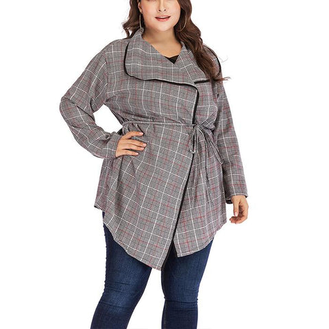 Chiczz Plus-size v-neck long-sleeved plaid print coat