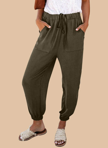 Chiczz Drawstring Lightweight Pocketed Joggers