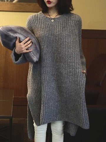 Chiczz Gray Casual Knitted Sweater Dress
