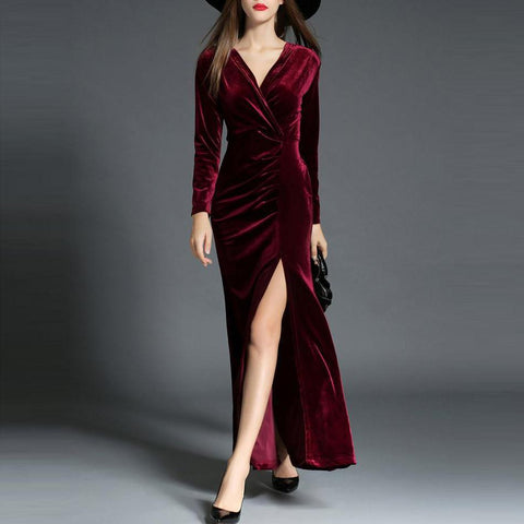 Chiczz Elegant Split Velvet Evening Dress