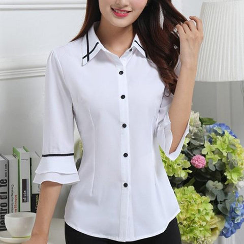 CHICZZ Spring Summer Polyester Women Turn Down Collar Single Breasted Contrast Piping Plain Half Sleeve Blouses