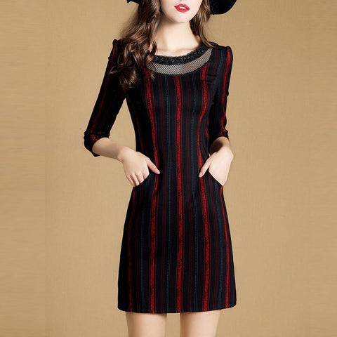 CHICZZ Stripes Stitching Slim Shift Dress