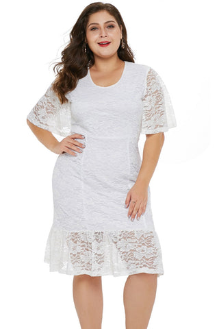 White Plus Size Lace Dress
