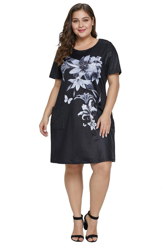 Black Floral Patterned Panel Plus Size Dress