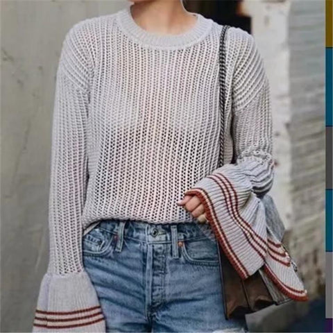 CHICZZ Stripe Openwork Round Neck Bell Sleeve Sweaters