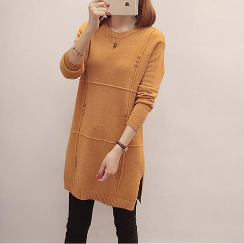 CHICZZ Solid Color Round Neck Mid-Length Sweaters