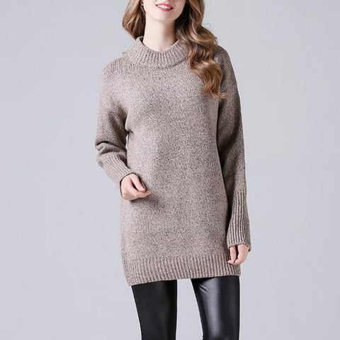 CHICZZ Solid Color Round Neck Medium Style Sweaters