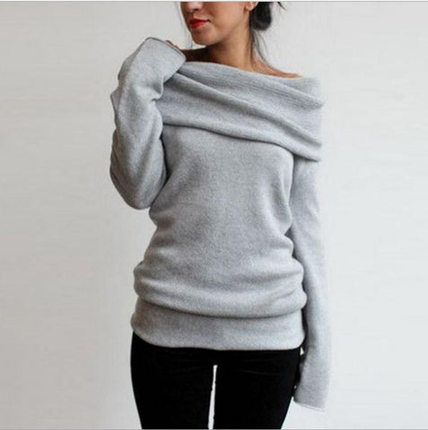 CHICZZ Solid Color Off Shoulder Turtleneck Long Sleeve Sweaters