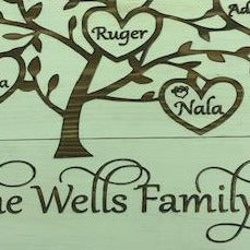 "Family Tree 10"" x 10"" 3 slat wood sign"