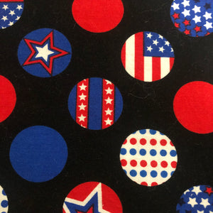 Fabric Face Mask -  Red, White and Blue Circles and Stars