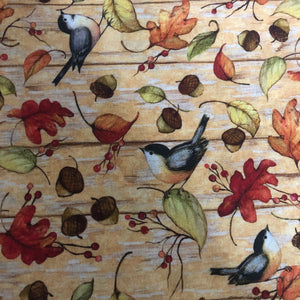 Fabric Face Mask - Chickadees and Autumn Leaves