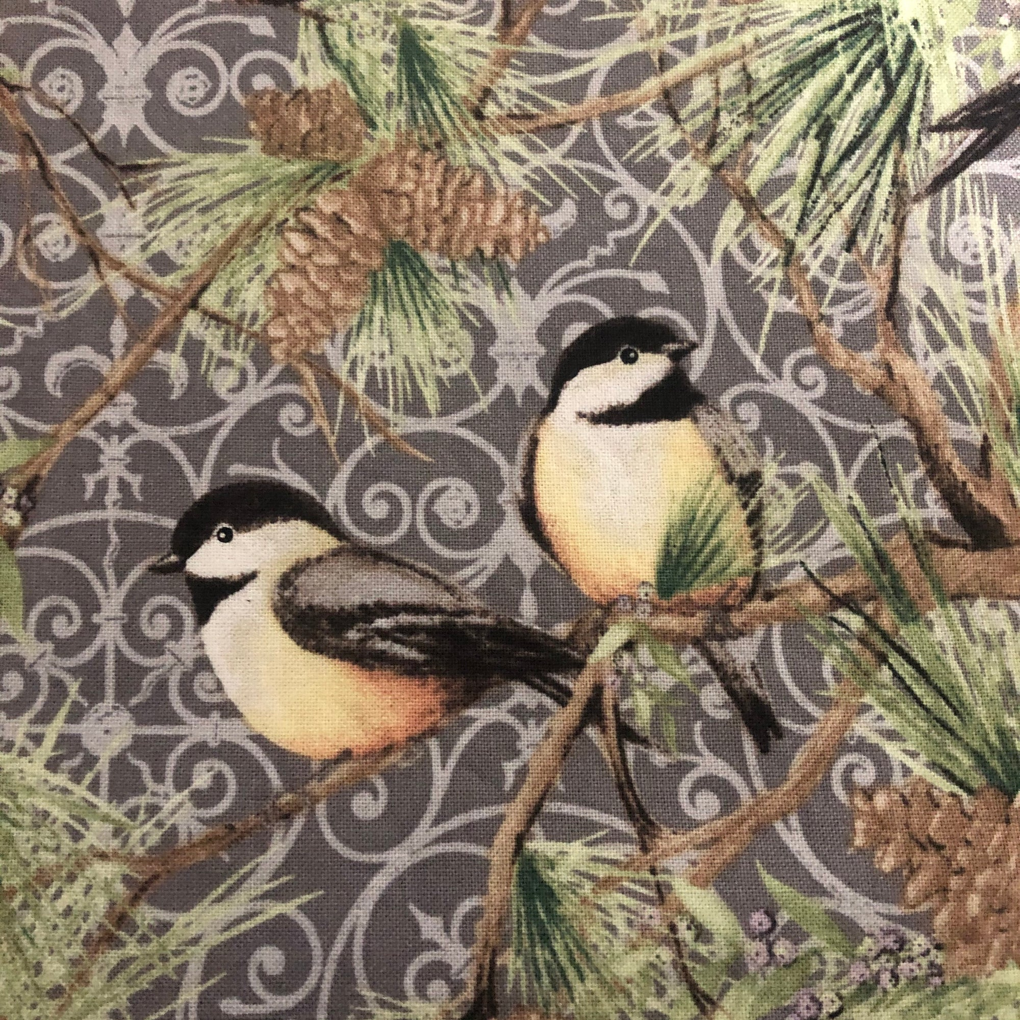 Fabric Face Mask - Chickadees and Pinecones