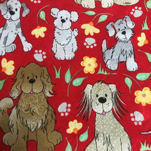 Fabric Face Mask - Doggies with Flowers