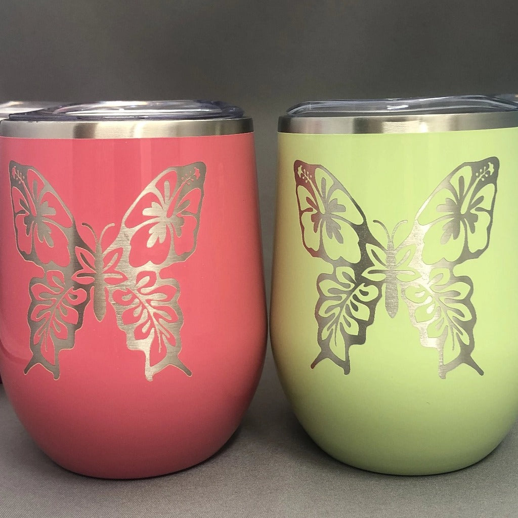 Floral Butterfly Tumbler, 12 oz Wine Maars