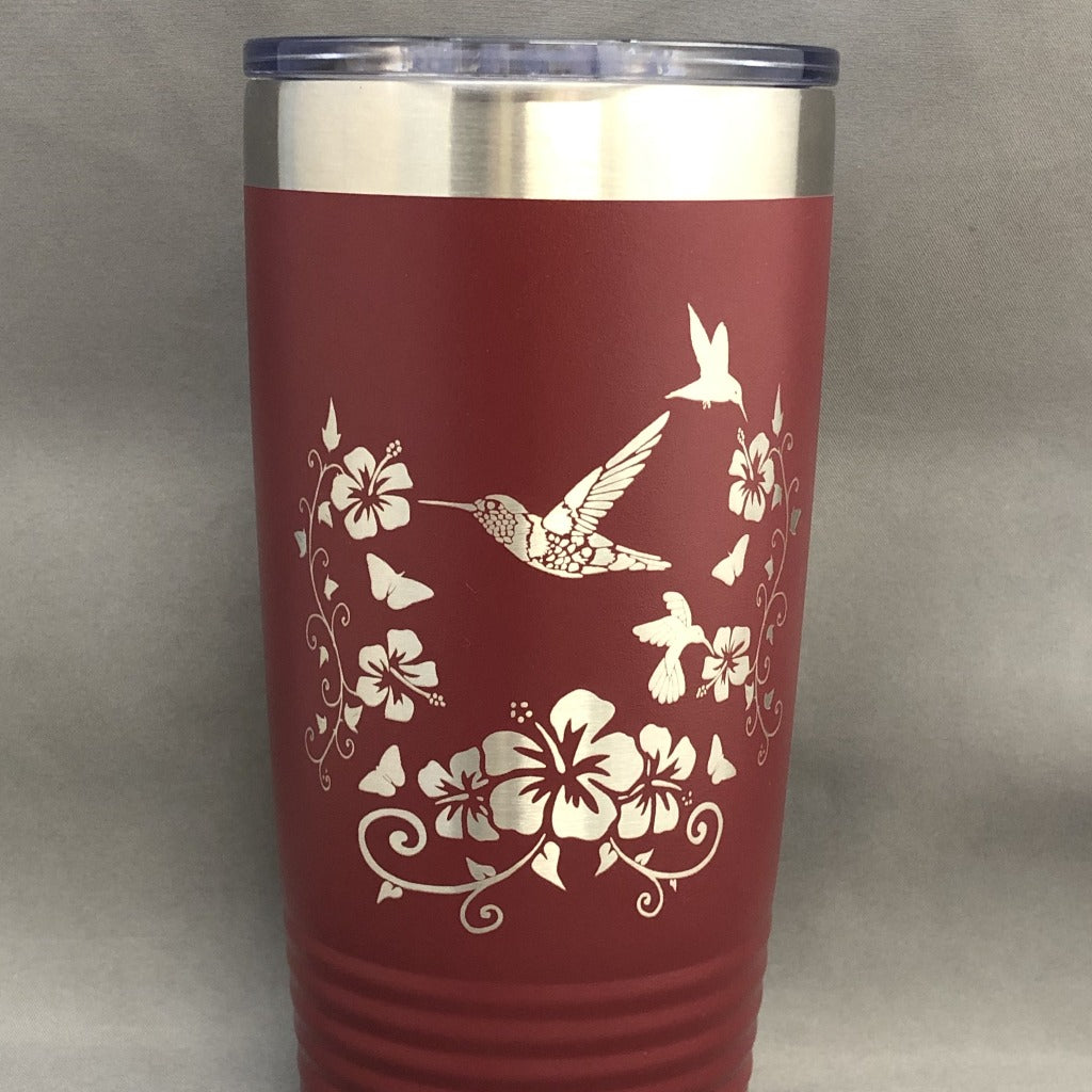 Hummingbirds with Hibiscus Flowers Tumbler, 20 oz polar