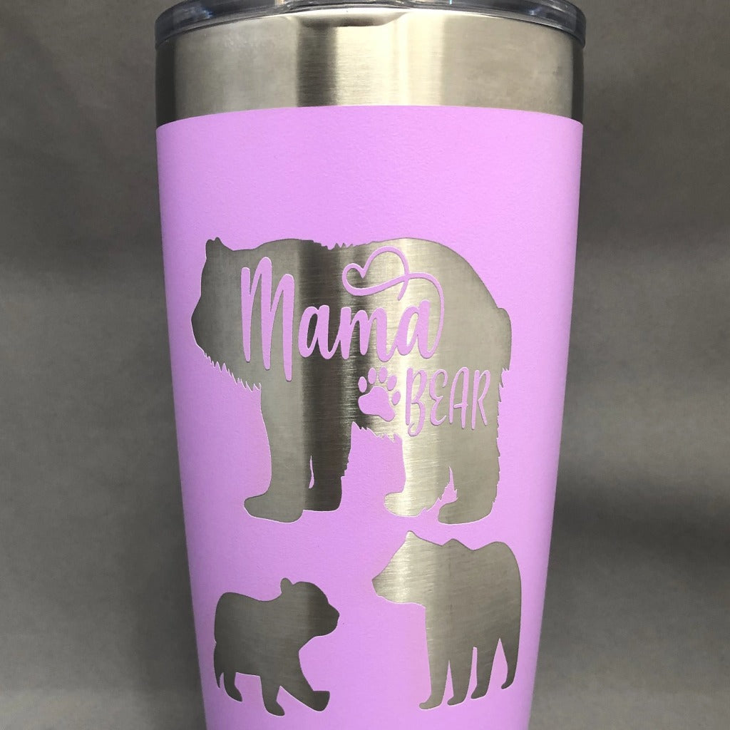 Mama bear with 2 cubs Tumbler, 20 oz polar