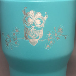 Owl on Cherry Blossom Branch Tumbler, 30 oz polar