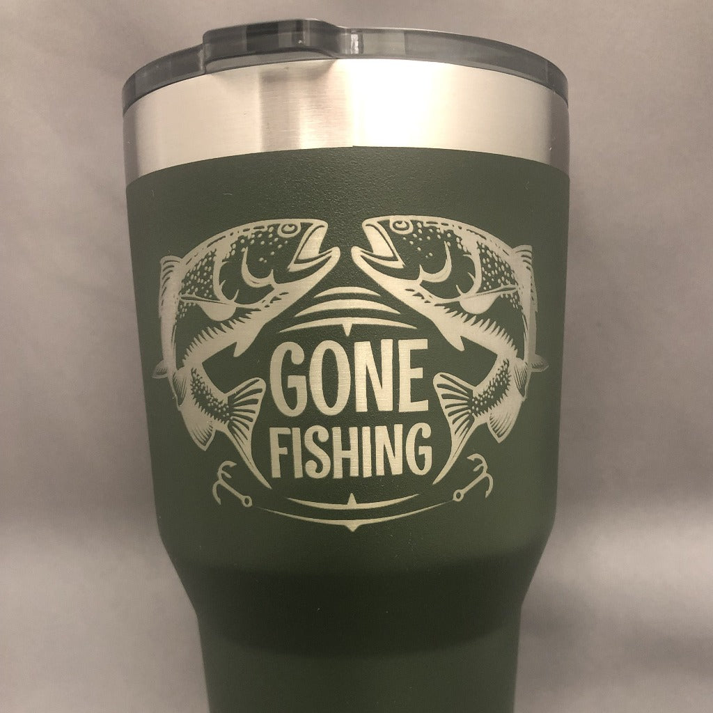 Gone Fishing Tumbler, 30 oz polar