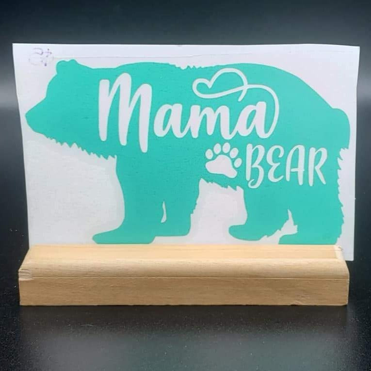 Mama Bear w/ paw print Vinyl Decal