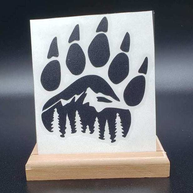 Bear Claw with Mountains Vinyl Decal