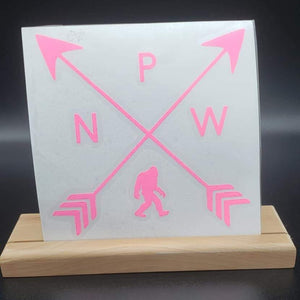 PNW Arrows with Big Foot Vinyl Decal