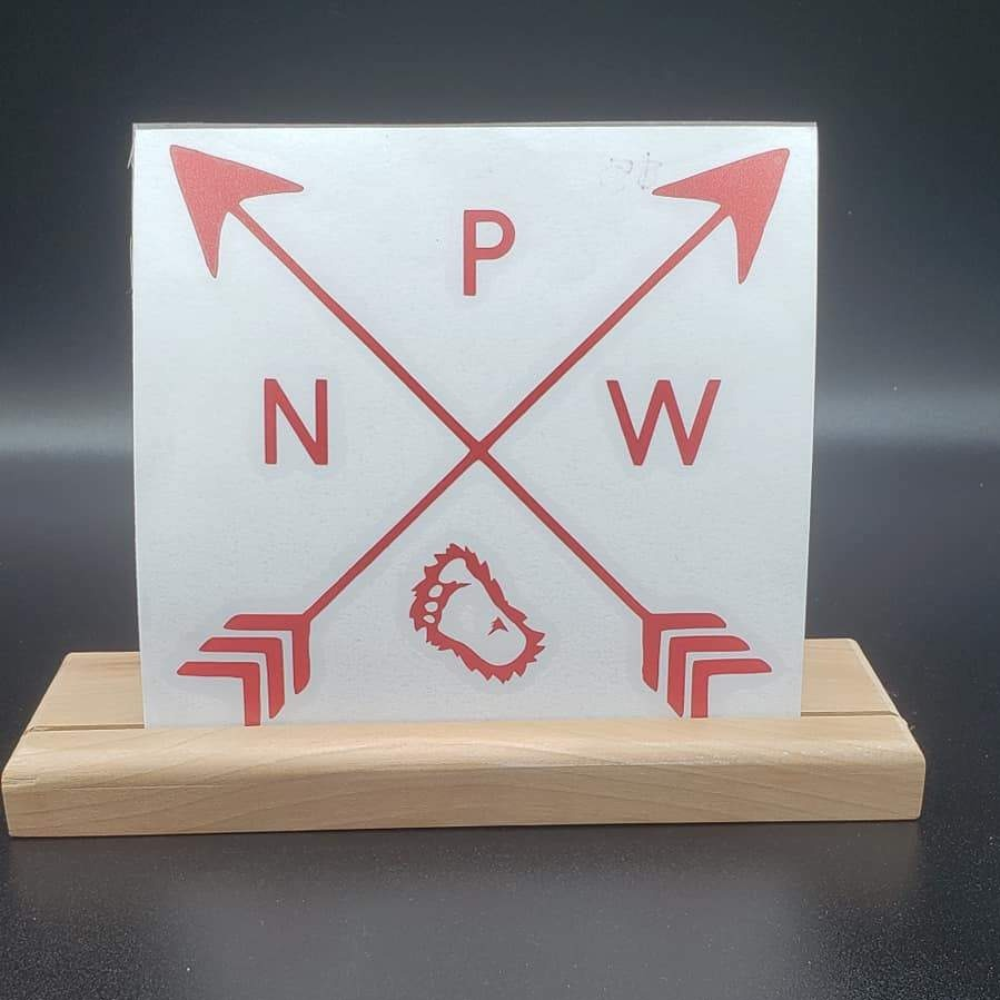 PNW Arrows with Big Foot's Foot Print Vinyl Decal