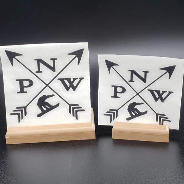 PNW Arrows with Snowboarder Vinyl Decal