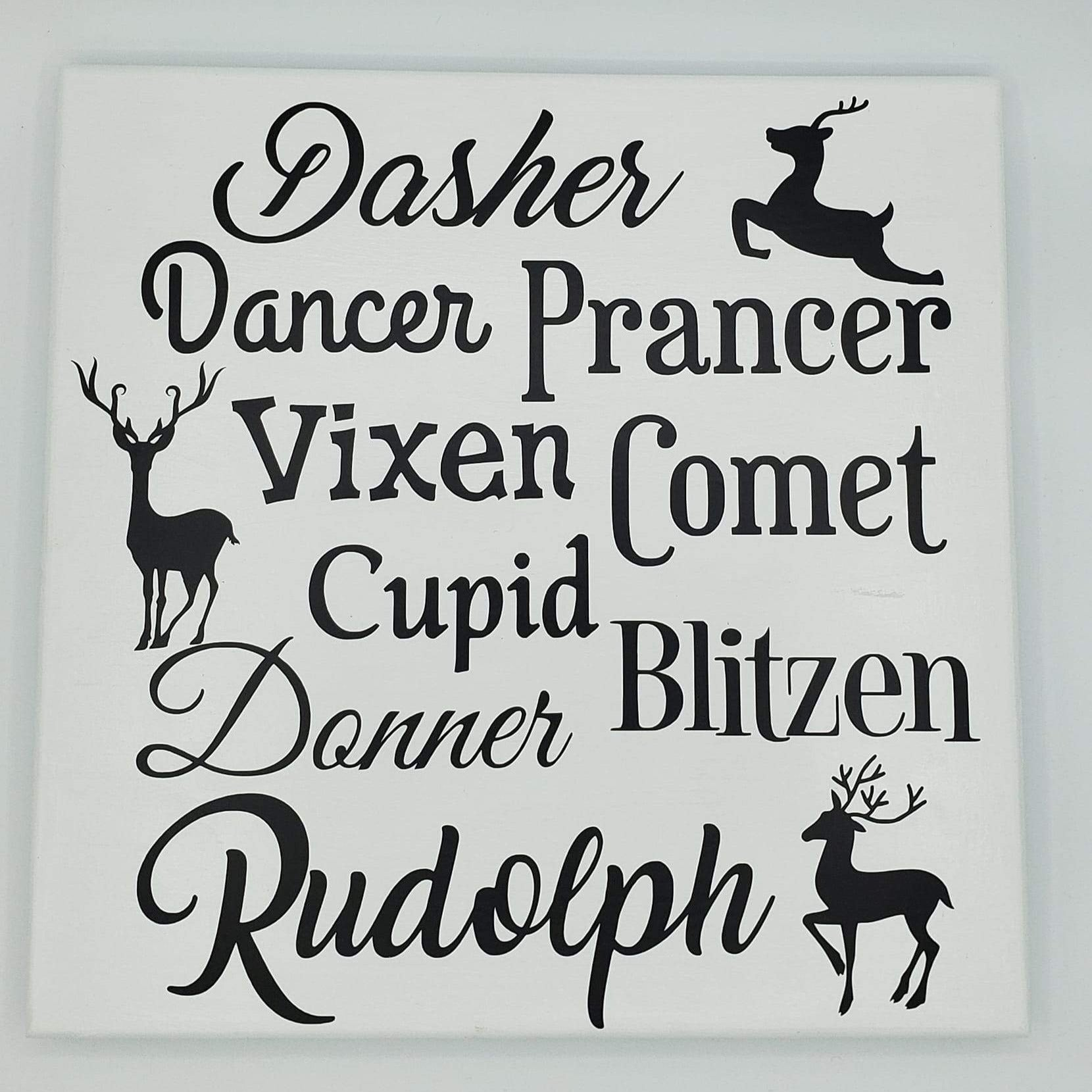 Reindeer Names Wood Sign 12x12 - Ready Made