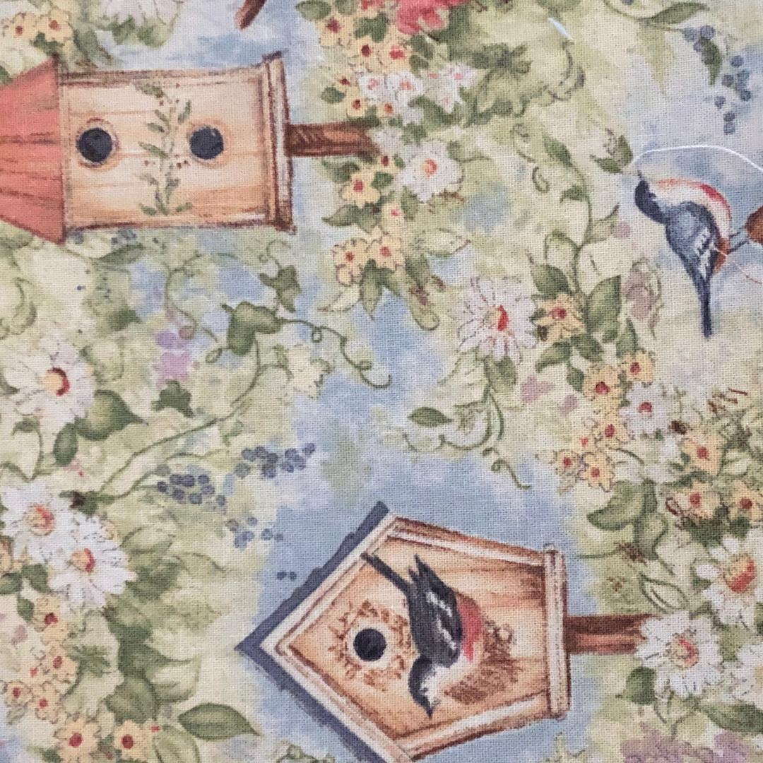 Fabric Face Mask -  Spring Bird Houses