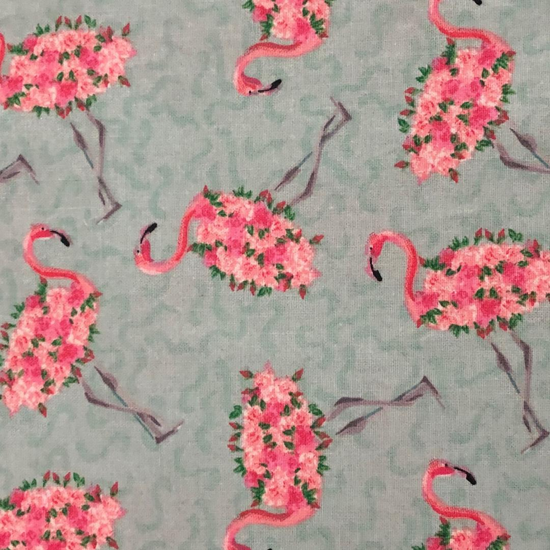 Fabric Face Mask -  Floral Flamingos