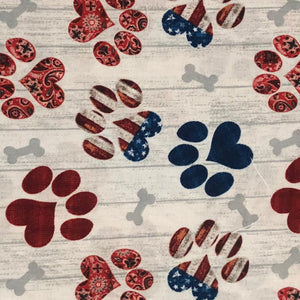 Fabric Face Mask - Red White Blue Paw Prints