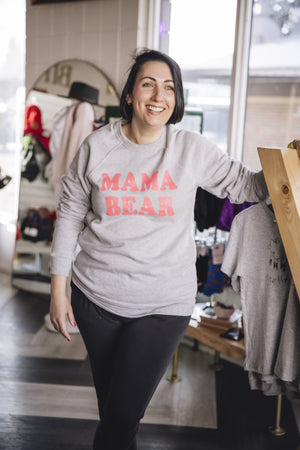 All Twerk And No Pray - Mama Bear Crewneck |Pebble Grey - Birch Hill Studio