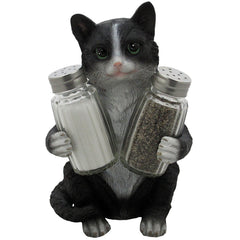 Salt and pepper shaker set with cat shaped holder