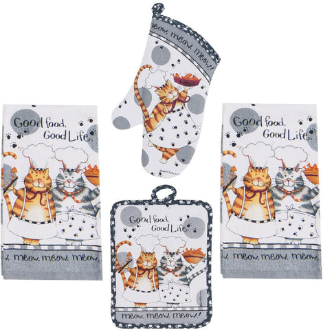 kitchen towel set with cat design
