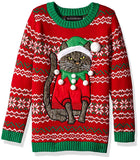 gray cat design on ugly christmas swetaer red and green