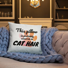 cat hair throw pillow for cat lovers
