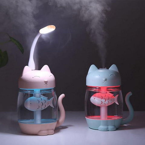 blue and pink air humidifiers shaped as a cat