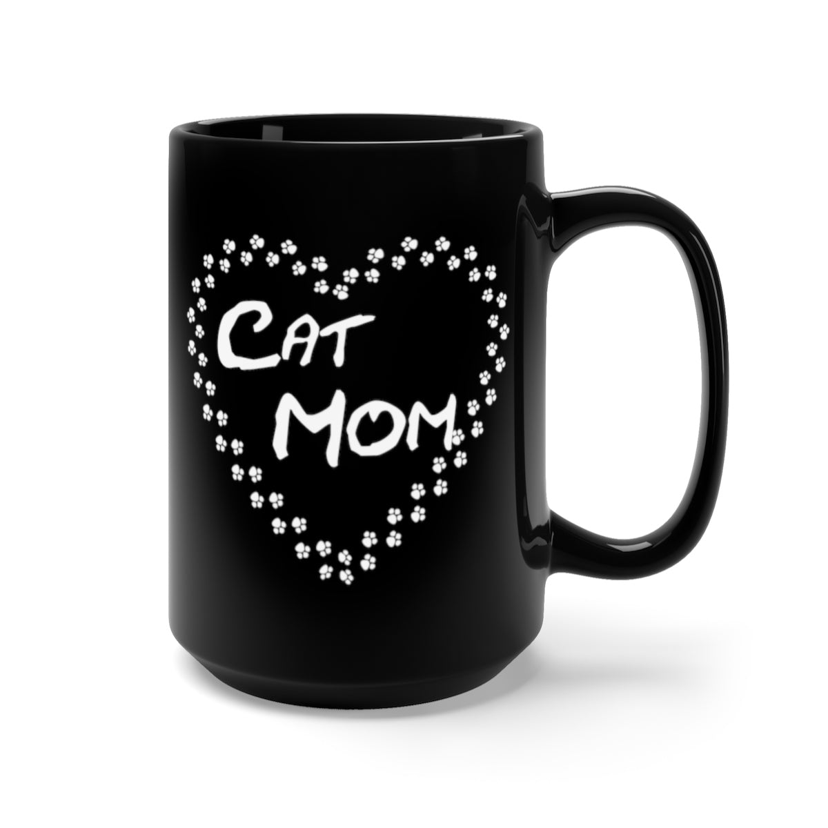 Cat mom paw heart black mug for cat lovers