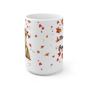 side view of 15oz siamese cat fall leaves morning pumpkin white mug