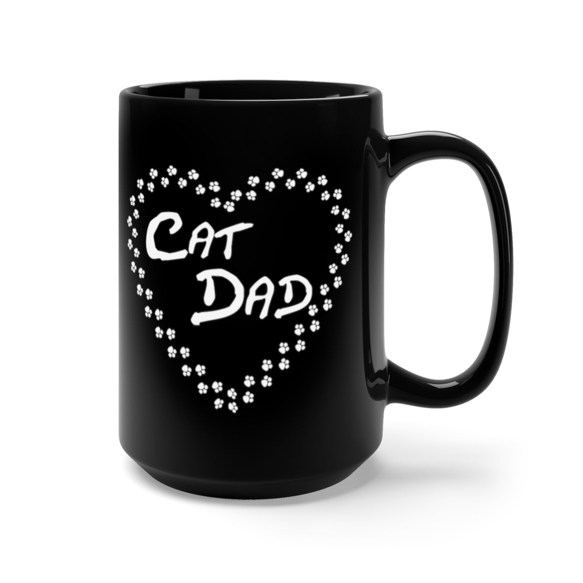 black mug with cat dad white text surrounded by a heart made of cat paws