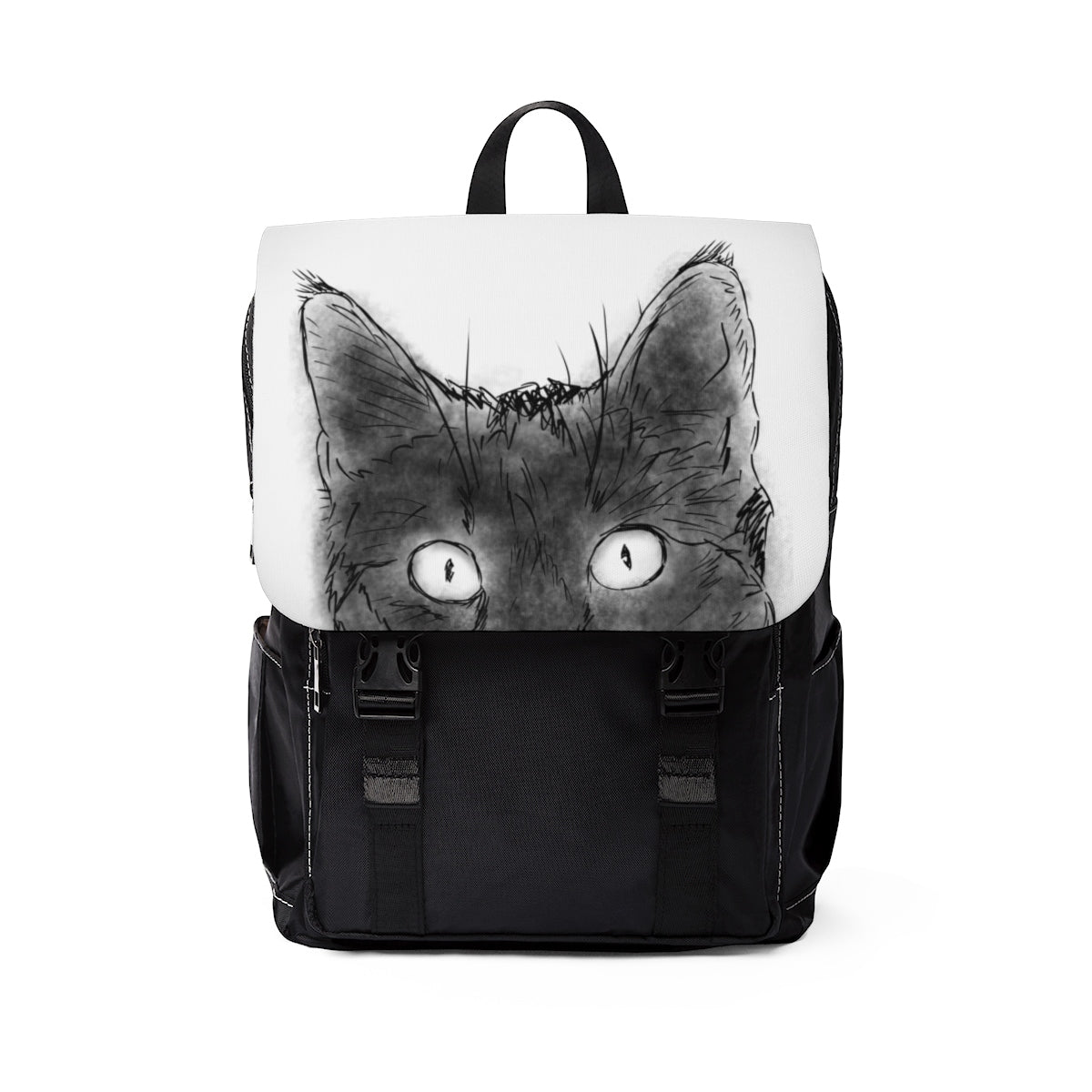 peeking black cat design on casual backpack