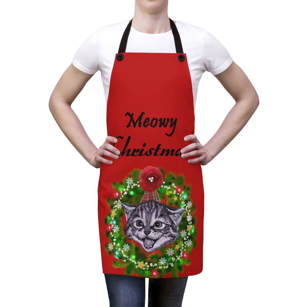 Meowy Christmas Red Apron