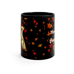 side view of fall leaves and siamese cat morning pumpkin black mug
