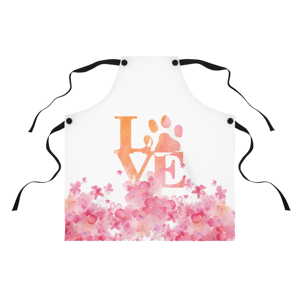 flowers and love cat paw pink and orange apron